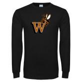 Black Long Sleeve T Shirt-Mascot W Logo
