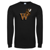 Black Long Sleeve T Shirt-W Distressed