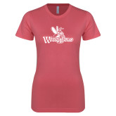 Next Level Ladies SoftStyle Junior Fitted Pink Tee-Waynesburg Primary Logo