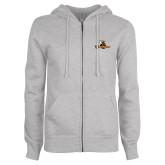 ENZA Ladies Grey Fleece Full Zip Hoodie-Waynesburg Primary Logo