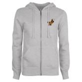 ENZA Ladies Grey Fleece Full Zip Hoodie-Mascot W Logo