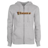 ENZA Ladies Grey Fleece Full Zip Hoodie-Waynesburg