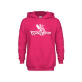 Youth Raspberry Fleece Hoodie-Waynesburg Primary Logo