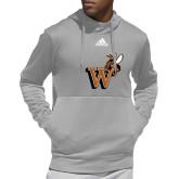 Adidas Grey Team Issue Hoodie-Mascot W Logo