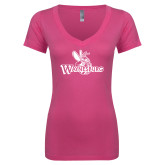 Next Level Ladies Junior Fit Ideal V Pink Tee-Waynesburg Primary Logo