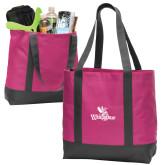 Tropical Pink/Dark Charcoal Day Tote-Waynesburg Primary Logo