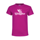 Youth Cyber Pink T Shirt-Waynesburg Primary Logo