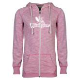ENZA Ladies Hot Pink Marled Full Zip Hoodie-Waynesburg Primary Logo