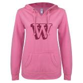 ENZA Ladies Hot Pink V Notch Raw Edge Fleece Hoodie-W Hot Pink Glitter