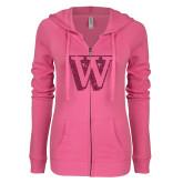 ENZA Ladies Hot Pink Light Weight Fleece Full Zip Hoodie-W Hot Pink Glitter