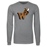 Grey Long Sleeve T Shirt-Mascot W Logo