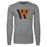 Grey Long Sleeve T Shirt-W Lettermark