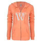 ENZA Ladies Coral Light Weight Fleece Full Zip Hoodie-W White Soft Glitter