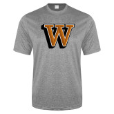 Performance Grey Heather Contender Tee-W Lettermark