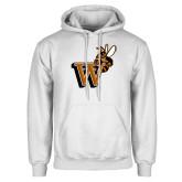 White Fleece Hoodie-Mascot W Logo