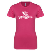 Ladies SoftStyle Junior Fitted Fuchsia Tee-Waynesburg Primary Logo
