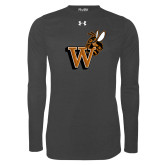 Under Armour Carbon Heather Long Sleeve Tech Tee-Mascot W Logo