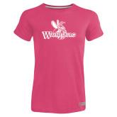 Ladies Russell Pink Essential T Shirt-Waynesburg Primary Logo