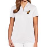 Ladies Callaway Tulip Sleeve White Zip Polo-Mascot W Logo