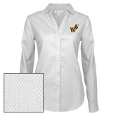 Ladies Red House Diamond Dobby White Long Sleeve Shirt-Mascot W Logo