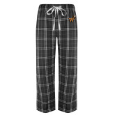 Black/Grey Flannel Pajama Pant-Mascot W Logo