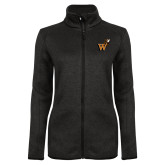 Black Heather Ladies Fleece Jacket-Mascot W Logo