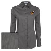 Ladies Grey Tonal Pattern Long Sleeve Shirt-Mascot W Logo