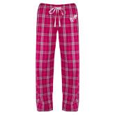 Ladies Dark Fuchsia/White Flannel Pajama Pant-Mascot W Logo