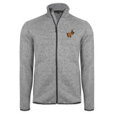 Grey Heather Fleece Jacket-Mascot W Logo