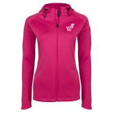 Ladies Tech Fleece Full Zip Hot Pink Hooded Jacket-Mascot W Logo