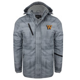 Grey Brushstroke Print Insulated Jacket-W Lettermark