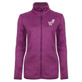Dark Pink Heather Ladies Fleece Jacket-Mascot W Logo