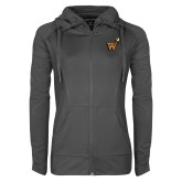 Ladies Sport Wick Stretch Full Zip Charcoal Jacket-Mascot W Logo