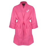 Hot Pink Waffle Kimono Robe-Mascot W Logo