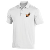 Under Armour White Performance Polo-Mascot W Logo