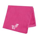 Pink Beach Towel-Mascot W Logo