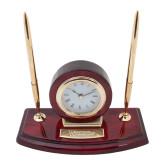 Executive Wood Clock and Pen Stand-Waynesburg Engraved