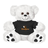Plush Big Paw 8 1/2 inch White Bear w/Black Shirt-Waynesburg Primary Logo