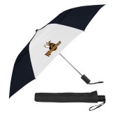 42 Inch Slim Stick Black/White Vented Umbrella-Waynesburg Primary Logo