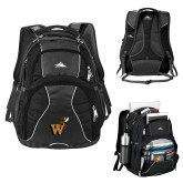 High Sierra Swerve Black Compu Backpack-Mascot W Logo