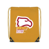 Gold Drawstring Backpack-Winthrop Eagles w/ Eagle Head