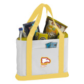 Contender White/Gold Canvas Tote-Winthrop Eagles w/ Eagle Head