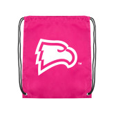 Pink Drawstring Backpack-Eagle Head