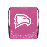 Nylon Pink Bubble Patterned Drawstring Backpack-Eagle Head