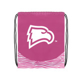 Nylon Zebra Pink/White Patterned Drawstring Backpack-Eagle Head