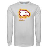 White Long Sleeve T Shirt-Winthrop Eagles w/ Eagle Head