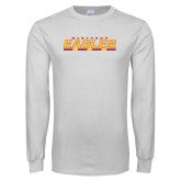 White Long Sleeve T Shirt-Winthrop Eagles Stacked w/ Bar