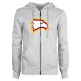 ENZA Ladies White Fleece Full Zip Hoodie-Eagle Head