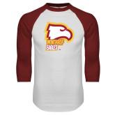 White/Cardinal Raglan Baseball T Shirt-Winthrop Eagles w/ Eagle Head