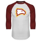 White/Cardinal Raglan Baseball T Shirt-Eagle Head